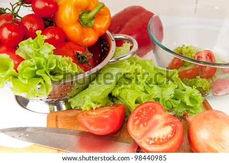 Salad preparation of pepper, tomatoes, vegetable marrow and aubergine