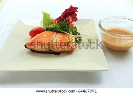 Salad salmon with cream sauce