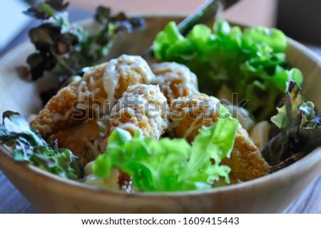 salad, shrimp salad with dressing