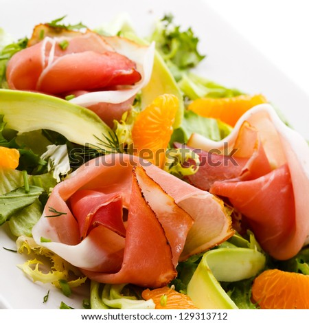 Salad - smoked bacon and vegetables - stock photo
