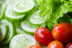 Salad, tomato and cucumber