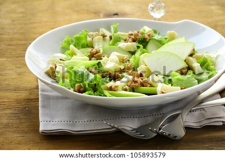 salad with apples, walnuts and cheese - stock photo