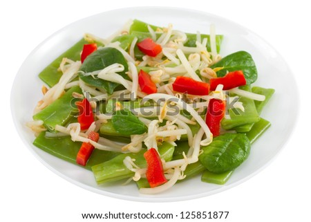 salad with bean sprouts on the plate on white background #125851877