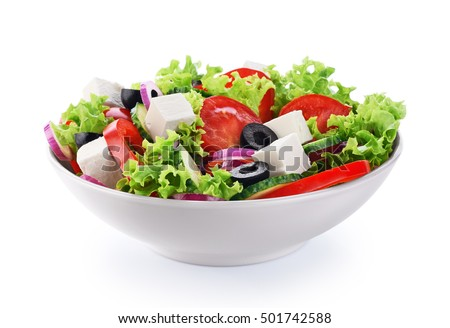 Salad with cheese and fresh vegetables isolated on white background. Greek salad. #501742588
