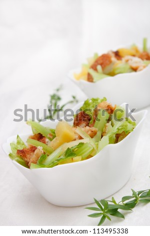 Salad with chicken, celery and pineapple