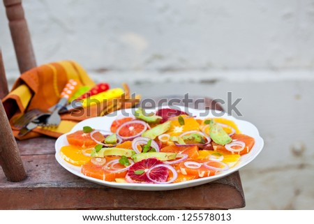 Salad with Citrus Fruits, Avocado and Onion. Also available in horizontal format.