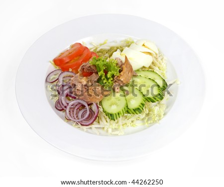 Salad with cod liver, tomato, cucumber, onion, egg and cabbage ...