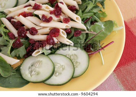 salad with cucumbers, cranberry-raisens,pasta