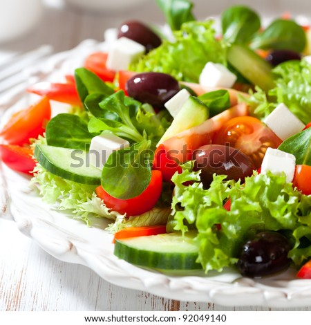 Salad with feta cheese and greek olives