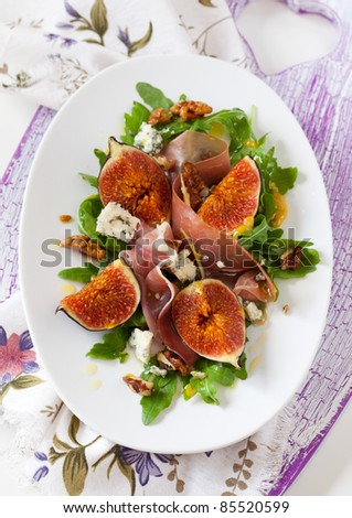 Salad With Fig,Blue Cheese,Prosciutto And Nut Stock Photo 85520599 ...