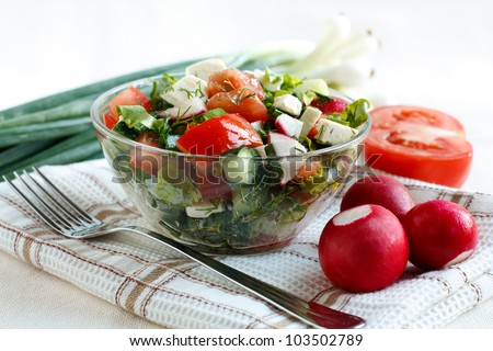 Salad with fresh vegetables and feta cheese in a salad bowl on a fabric napkin. Ingredients for the salad in the background