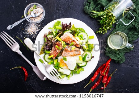 salad with fried tuna and egg , diet salad #1158016747