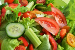 salad with lettuce and fresh vegetable close up