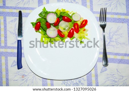 Salad with lettuce and tomato. Fresh and summer dish. typical of Sicily and the Mediterranean. The Mediterranean diet. #1327095026
