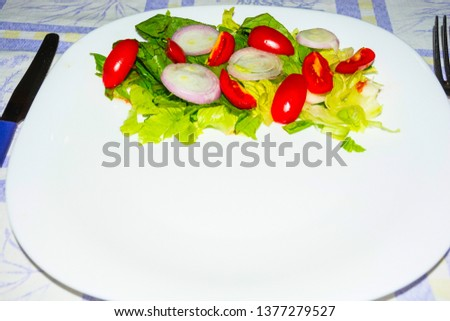 Salad with lettuce and tomato. Fresh and summer dish. typical of Sicily and the Mediterranean. The Mediterranean diet. #1377279527