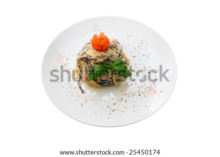 Salad with macaroni at plate. Isolation on white.