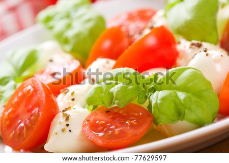 salad with mozzarella, tomatoes and basil