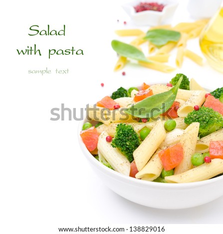 salad with pasta, smoked salmon, broccoli and green peas, the ingredients in the background and space for text, isolated on a white background