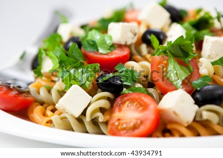 Salad with pasta,vegetables and feta