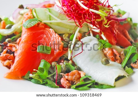 Salad with red and white fish, shrimp and herbs