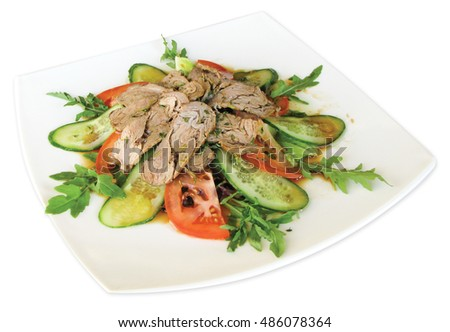 Salad with roast beef, tomatoes, cucumbers, cilantro, thyme, mixes salad Aisberg, Romana, Rucola, Lola Rossa, seasoned with special sauce Imagine de stoc ©