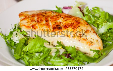 salad with roasted chicken breast