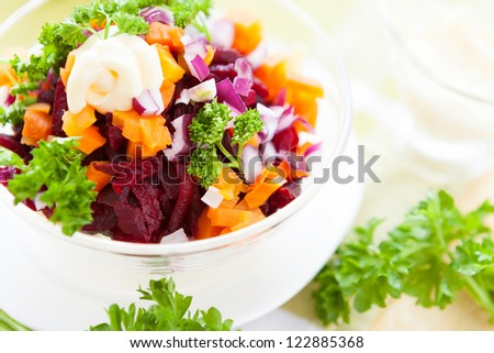salad with roasted vegetables and mayonnaise, food