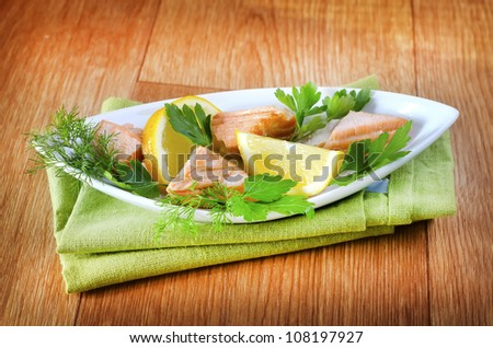 salad with salmon - stock photo