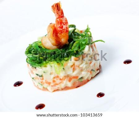 Salad with seafood.