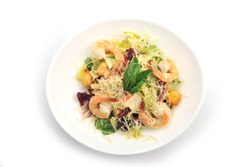 salad with shrimps for restaurant menu. Healthy Shrimp Prawn Salad with mixed greens and tomatoes. Diet. Weight Loss SeaFood