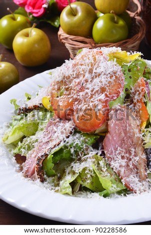 Salad with Smoke-cured Duck Breast and Cheese