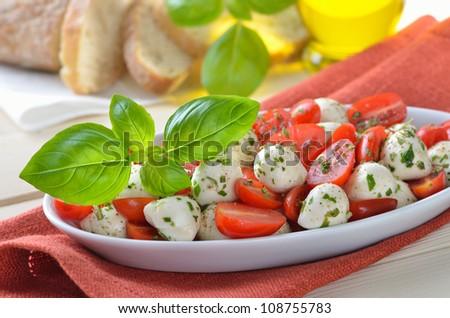 Salad with tomatoes, mozzarella and basil, served with Italian ciabatta bread