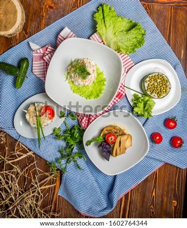 Salads: The Capital Salad, Mangal salad, Chicken Salad and decoration