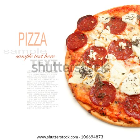 Salami Pizza isolated on white