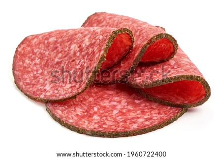 Salami sausage slices, isolated on white background. High resolution image. Сток-фото ©