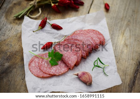 Salami slices with hot peppers Сток-фото ©
