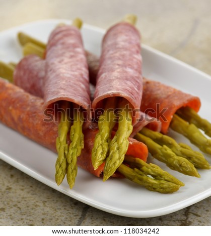 Salami With Marinated Asparagus Appetizer