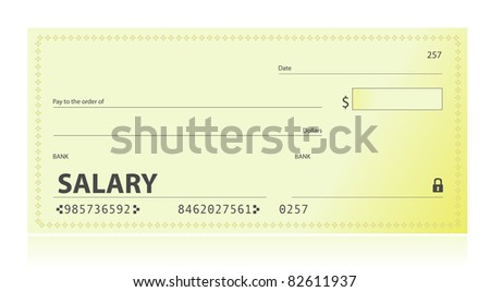 Salary check illustration design over white