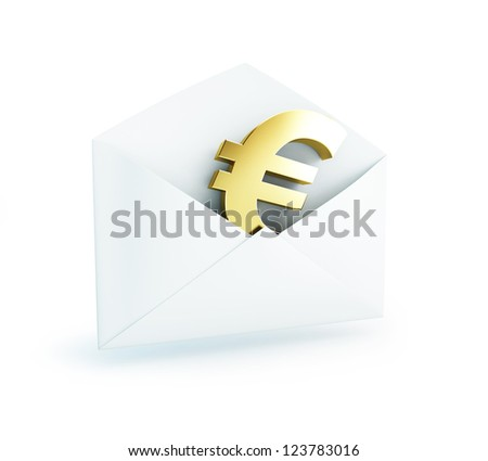 Salary mail euro on a white background