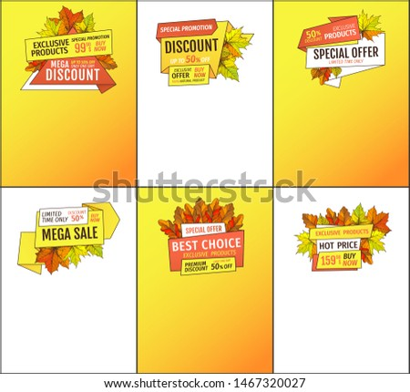 Sale adverts with autumnal foliage and orange leaves raster. Limited time buy now discount promo online posters set. Mega reduction of autumn fall prices