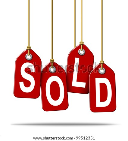 Sale and selling retail price tag sign with the text sold as a red label with hanging strings tied as a commercial symbol of merchandise or services that have been purchased from a store on white.