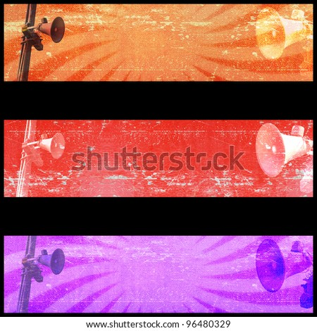 Sale banner with Grunge loudspeaker background