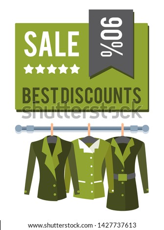 Sale best discounts 90 total off special offer label discount tag with jackets on hangers raster emblem advertisement sticker modern apparel coats