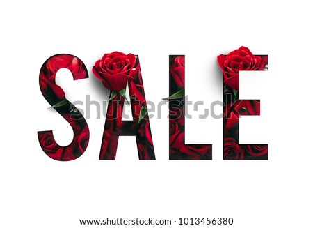 Sale brilliant poster, banner, background with romantic concept. Precious Paper cut with real rose flowers. For your unique selling poster, banner promotion offer ads on Valentine's day, Spring,Summer