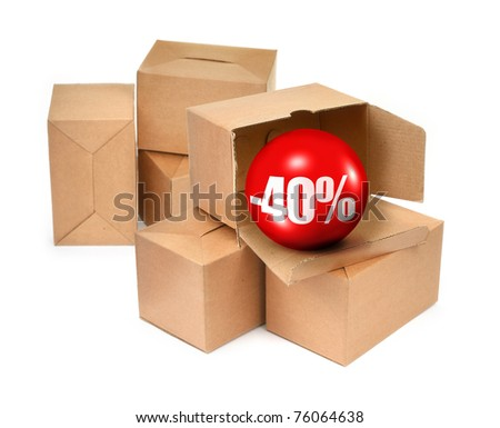 sale concept -40%, cardboard boxes and 3D sale ball, photo does not infringe any copyright