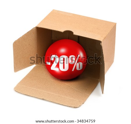 sale concept - open cardboard box and 3D sale ball, photo does not infringe any copyright