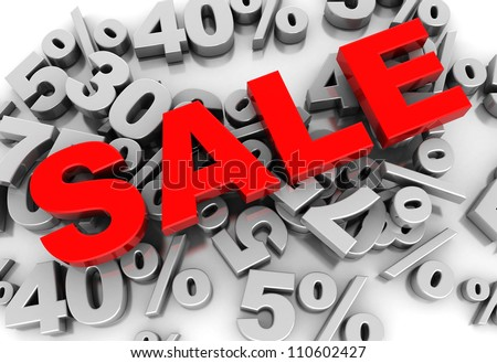 Sale 3d-text placed on numbers of percent