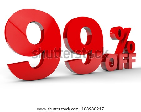 Sale Discount percentage red over white background