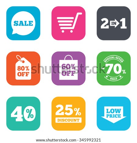 Sale discounts icon. Shopping cart, coupon and low price signs. 25, 40 and 60 percent off. Special offer symbols. Flat square buttons.