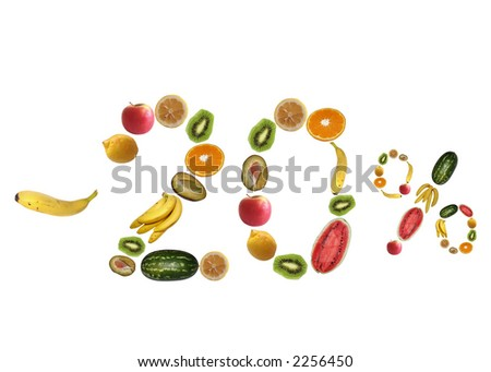 Sale from random fruit isolated on white background.